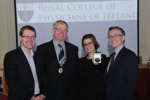 Royal Academy of Mediine in Ireland 11th St Luke's Young Investigators Award Prof Ken O'Halloran General Secretary RAMI, Dr Patrick O'Sullivan President RAMI,Dr Maria Prencipe Winner, Dr James Jones Editor in Chief IJMS.
